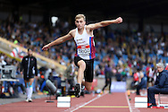 Sam Trigg competing in the Men's Triple Jump Final. The British Championships 2016, athletics event at the Alexander Stadium in Birmingham, Midlands  on Saturday 25th June 2016.<br /> pic by John Patrick Fletcher, Andrew Orchard sports photography.