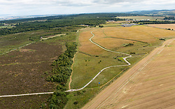 Aerial view from drone of Culloden Moor battlefield in Inverness-shire, Scotland, Uk