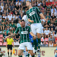 28.08.2019, Stadion Lohmühle, Luebeck, GER,  VFB Lübeck/Luebeck vs VfL Wolfsburg IIi<br /> <br /> DFB REGULATIONS PROHIBIT ANY USE OF PHOTOGRAPHS AS IMAGE SEQUENCES AND/OR QUASI-VIDEO.<br /> <br /> im Bild / picture shows<br /> Kpfball Tommy Grupe (VfB Luebeck), Kresimir Matovina (VfB Luebeck) hinten Michael Edwards VfL Wolfsburg II<br /> <br /> Foto © nordphoto / Tauchnitz
