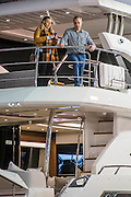 Potential buyers young and old browse the Sunseeker stand - The London Boat Show opens at the Excel centre. London 06 Jan 2017