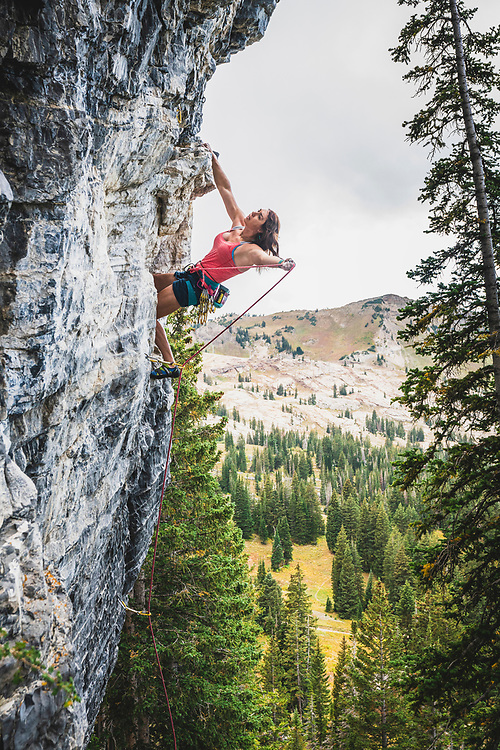 Nikki Smith clipping her way up the filaments of dark matter that make up the Universe, Cosmic Web, 5.10b, Albion Basin, Utah.