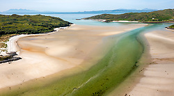 Aerial view from drone of Silver Sands of Morar on the River Morar and Morar Bay at Morar west of Scotland, UK