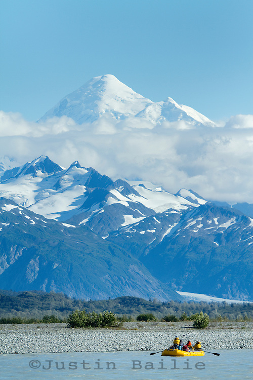 """Mount Fairweather in full view while on a  raft trip down the Tashenshini River. The """"Tat"""" flows out of Yukon, CA, through British Columbia and empties into Glacier Bay National Park in Alaska, US."""