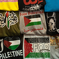 """T-shirts for sale in the Old City of Jerusalem say """"Free Palestine"""" and """"Freedom for Palestine"""""""