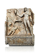 Roman Sebasteion relief  sculpture of Royal Hero with hunting dogs,  Aphrodisias Museum, Aphrodisias, Turkey.     Against a white background.<br /> <br /> A diademed youth stands with his horse and hunting dogs. At the left an oval shield (foreign) hangs from a leafless tree, against which leans a long thin club. The Royal hero in this and the relief to the left is probably a local founder such as Assyrian King Ninos, claimed as founder of their city by the Aphrodisians. .<br /> <br /> If you prefer to buy from our ALAMY STOCK LIBRARY page at https://www.alamy.com/portfolio/paul-williams-funkystock/greco-roman-sculptures.html . Type -    Aphrodisias     - into LOWER SEARCH WITHIN GALLERY box - Refine search by adding a subject, place, background colour, museum etc.<br /> <br /> Visit our ROMAN WORLD PHOTO COLLECTIONS for more photos to download or buy as wall art prints https://funkystock.photoshelter.com/gallery-collection/The-Romans-Art-Artefacts-Antiquities-Historic-Sites-Pictures-Images/C0000r2uLJJo9_s0