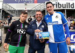 Ian Holtby is presented with a trophy for his help organising the Bristol Fan Derby - Mandatory by-line: Robbie Stephenson/JMP - 04/09/2016 - FOOTBALL - Memorial Stadium - Bristol, England - Bristol Rovers Fans v Bristol City Fans - Bristol Fan Derby