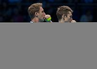 Tennis - 2017 Nitto ATP Finals at The O2 - Day Seven<br /> <br /> Mens Doubles: Semi Final 2 : Jamie Murray (Great Britain) & Bruno Soares (Brazil) Vs Henri Kontinen (Finland) & John Peers (Australia) <br /> <br /> John Peers (Australia) and Henri Kontinen (Finland) discuss tactics at the O2 Arena<br /> <br /> COLORSPORT/DANIEL BEARHAM