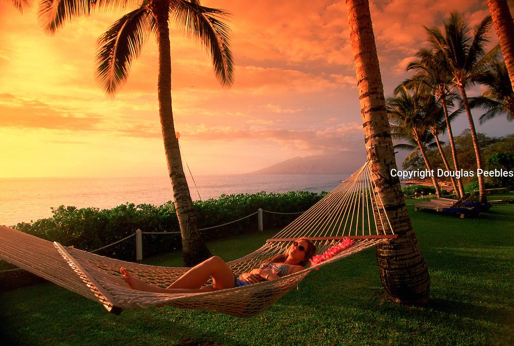Hammock, Sunset, Wailea, Maui Hawaii, USA<br />