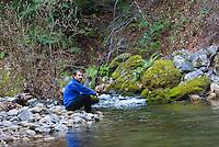 Meditating at Big Sur River, Sykes Hot Springs, Big Sur, California.