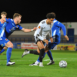 TELFORD COPYRIGHT MIKE SHERIDAN Dom McHale of Telford goes round Andy Halls of Chorley during the Vanarama Conference North fixture between AFC Telford United and Chorley at the New Bucks Head Stadium on Tuesday, November 17, 2020.<br /> <br /> Picture credit: Mike Sheridan/Ultrapress<br /> <br /> MS202021-044