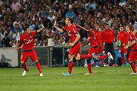FOOTBALL - FRENCH CHAMPIONSHIP 2012/2013 - L1 - OLYMPIQUE MARSEILLE v PARIS SAINT GERMAIN  - 7/10/2012 - PHOTO PHILIPPE LAURENSON / DPPI -  JOY ZLATAN IBRAHIMOVIC (PSG) AFTER SECOND GOAL
