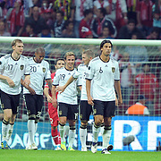 Germany's players (Left to Right) Andre SCHURRLE, Holger BADSTUBER, Philipp LAHM, Per MERTESACKER, Jerome BOATENG, Mario GOTZE, Bastian SCHWEINSTEIGER, Sami KHEDIRA, Thomas MULLER, Mario GOMEZ during their UEFA EURO 2012 Qualifying round Group A matchday 19 soccer match Turkey betwen Germany at TT Arena in Istanbul October 7, 2011. Photo by TURKPIX