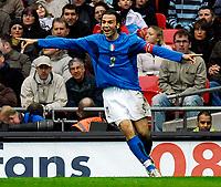 Photo: Alan Crowhurst.<br />England U21 v Italy U21. International Friendly. 24/03/2007. Italy's Gianpaolo Pazzini celebrates his third goal 3-3.