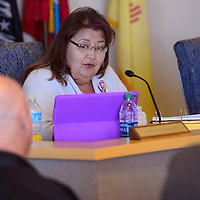 Commissioner Carol Bowman-Muskett addresses County Manager Bill Lee, reluctantly accepting his resignation and thanking him for his work on the County Commission during a meeting in Gallup Tuesday.