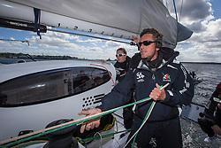 Loik Gallon (FRA) on Oman Sail's MOD70 Musandam during Kiel week 2014, 22-06-2014, Kiel - Germany.