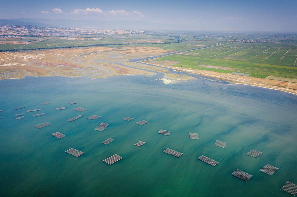 Fish Farms at Delta Aksiou near Thessaloniki, Greece
