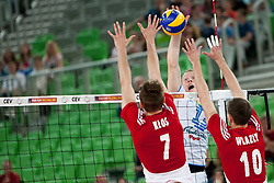 Tine Urnaut of Slovenia during volleyball match between National teams of Slovenia and Poland in 4th Qualification game of CEV European Championship 2015 on May 23, 2014 in Arena Stozice, Ljubljana, Slovenia. Photo by Urban Urbanc / Sportida