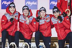01.03.2021, Oberstdorf, GER, FIS Weltmeisterschaften Ski Nordisch, Oberstdorf 2021, Herren, Nordische Kombination, Teambewerb, Siegerehrung, im Bild Espen Björnstad (NOR), Joergen Graabak (NOR), Jens LurasOftebro (NOR), Jarl Magnus Riiber (NOR) // Espen Björnstad of Norway Joergen Graabak of Norway Jens LurasOftebro of Norway Jarl Magnus Riiber of Norway during the Award Ceremony for the men Nordic combined Teamevent of FIS Nordic Ski World Championships 2021 in Oberstdorf, Germany on 2021/03/01. EXPA Pictures © 2021, PhotoCredit: EXPA/ Dominik Angerer