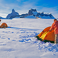 An expedition sets up camp below the Fenris Mountains, Queen Maud Land.