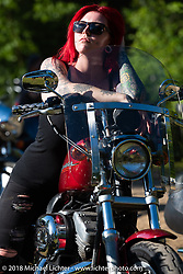 Melissa Marie on her Sportster at the Broken Spoke Saloon during Laconia Motorcycle Week. NH, USA. Saturday, June 16, 2018. Photography ©2018 Michael Lichter.