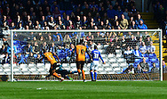Benik Afobe celebrates scoring the first goal during the Sky Bet Championship match between Birmingham City and Wolverhampton Wanderers at St Andrews, Birmingham, England on 11 April 2015. Photo by Alan Franklin.