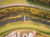 Aerial view above of man-made water canal, Deventer, Netherlands.