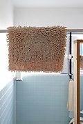 bathroom with rug hanging to dry