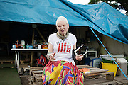 """Fashion Designer Dame Vivienne Westwood talks to anti farcking protesters in Upton Near Chester as part of  the """"We Need To Talk About Fracking"""" event held  this evening on Wednesday 11 June, 2014.<br /> <br /> #talkfracking<br /> <br /> Photos by Ki Price"""