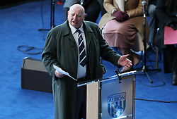 Former manager John Sillett reads a eulogy during the memorial service for Cyrille Regis at The Hawthorns, West Bromwich.