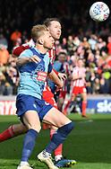 Wycombe Wanderers Jason McCarthy(26) and Sunderland midfielder Aidan McGeady (19) *** during the EFL Sky Bet League 1 match between Wycombe Wanderers and Sunderland at Adams Park, High Wycombe, England on 9 March 2019.