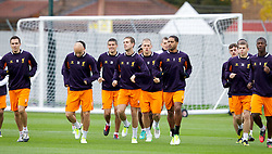 LIVERPOOL, ENGLAND - Wednesday, November 7, 2012: Liverpool's Jordan Henderson, Martin Skrtel, Glen Johnson and Jonjo Shelvey during a training session at the club's Melwood Training Ground ahead of the UEFA Europa League Group A match against FC Anji Makhachkala. (Pic by Vegard Grott/Propaganda)