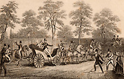Attempted assassination of Queen Victoria (1819-1901), queen of the United Kingdom from 1837. On the evening of Wednesday 10 June 1840 Victoria and her husband Prince Albert were travelling in a carriage along Constitution Hill near Buckingham Palace, London, when Edward Oxford fired a pistol at the Queen. Engraving.