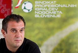 Dejan Stefanovic at press conference of SPINS - Sindikat profesionalnih igralcev nogometa Slovenije, on September 22, 2011, in TC Ljubljana Siska, Slovenia. (Photo by Vid Ponikvar / Sportida)