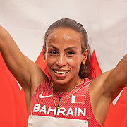 TOKYO, JAPAN August 7:  Kalkidan Gezahegne of Bahrain celebrates after winning the silver medal in the 10000m for women during the Track and Field competition at the Olympic Stadium at the Tokyo 2020 Summer Olympic Games on August 7th, 2021 in Tokyo, Japan. (Photo by Tim Clayton/Corbis via Getty Images)