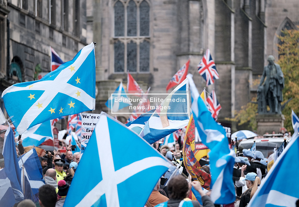 All Under One Banner March, Edinburgh, 5 October 2019<br /> <br /> Pictured: Marchers make their way towards the Meadows met a small counter demonstration<br /> <br /> Alex Todd | Edinburgh Elite media