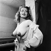 Tempest Storm backstage at the Star Theater, 1953. Portland, Oregon