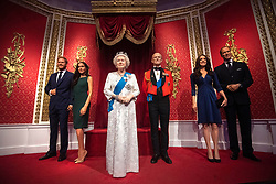 "The figures of the Duke and Duchess of Sussex in their original positions next to Queen Elizabeth II, the Duke of Edinburgh, and the Duke and Duchess of Cambridge, as Madame Tussauds London moved its figures of the couple from its Royal Family set to elsewhere in the attraction, in the wake of the announcement that they will take a step back as ""senior members"" of the royal family, dividing their time between the UK and North America."