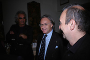 Flavio Briatore and Diego della Valle.  Dinner at San Lorenzo, Beauchamp Place after Tod's hosts Book signing with Dante Ferretti celebrating the launch of 'Ferretti,- The art of production design' by Dante Ferretti. 19 April 2005.  ONE TIME USE ONLY - DO NOT ARCHIVE  © Copyright Photograph by Dafydd Jones 66 Stockwell Park Rd. London SW9 0DA Tel 020 7733 0108 www.dafjones.com