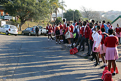 SOUTH AFRICA - Durban - 08 July 2020 - Grade 11 pupils from J.G Zuma High School in Kwamashu, Durban queue early in the morning joining other pupils over 2 million from grade R, 6 and 11 pupils as they  return to the classrooms  after almost four months at home.<br /> Picture: Motshwari Mofokeng/African News Agency (ANA)