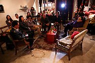 From left to right: David de Leon, housemate of Amilcar Perez-Lopez; Christine Goias, mother of Errol Chang; Ely Flores, close friend of Alex Nieto; Matt Chang, brother of Errol Chang; Adriana Camarena, restorative circle facilitator; and Mesha Irizarry, mother of Idriss Stelley gather during a restorative circle for friends and family of individuals killed by law enforcement on Día De Los Muertos at the Red Poppy Art House in San Francisco, Calif., Monday, November 2, 2015.