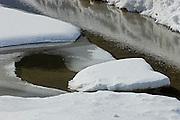 Ice detail on Kootenay River<br /> Kootenay National Park<br /> British Columbia<br /> Canada