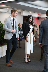 Prince Harry and Meghan Markle during a reception with delegates from the Commonwealth Youth Forum at the Queen Elizabeth II Conference Centre, London, during the Commonwealth Heads of Government Meeting.