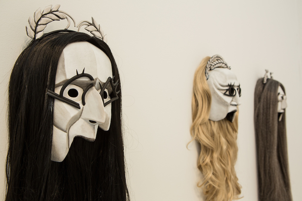 New York, NY - 6 May 2016. Frieze New York art fair. Masks by Mary Reid Kelley from Priapus Agonistes in the Pilar Corrias Gallery.