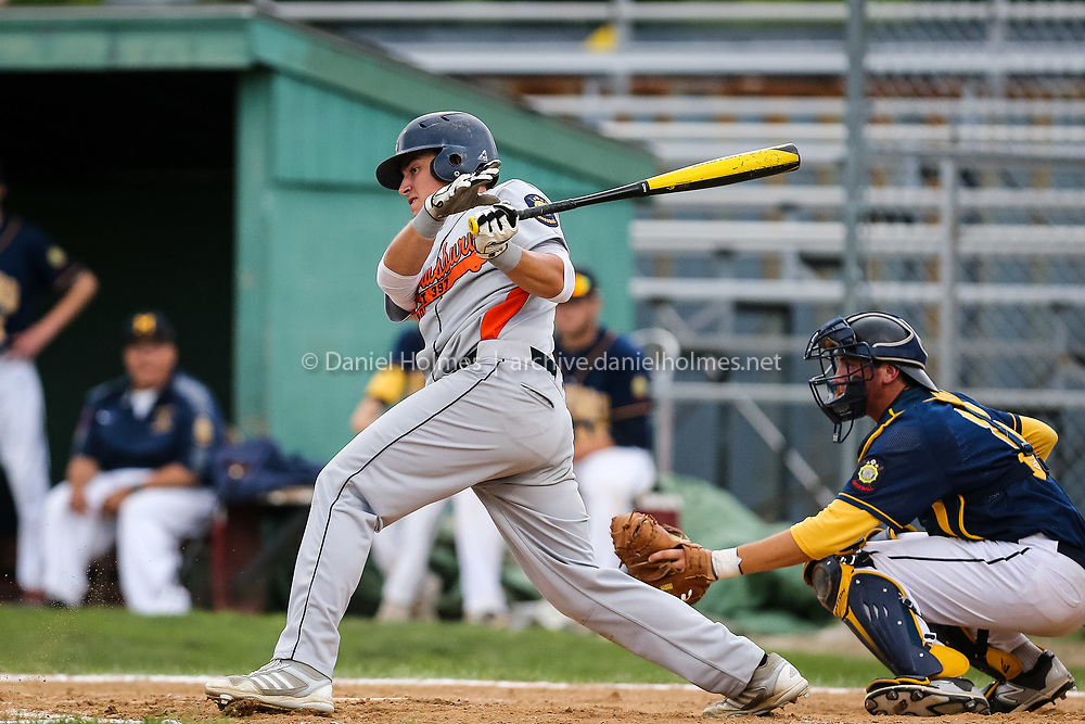 (7/7/15, MILFORD, MA) Shrewsbury Post 397's Matt Howard chops one to the infield during the American Legion baseball game against Milford Post 59 at Fino Field in Milford on Tuesday. Daily News and Wicked Local Photo/Dan Holmes