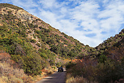 A Jeep Driving and Exploring on Silverado Canyon Road