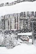 Covered in snow building during heavy snowfall, Nozawaonsen, Japan