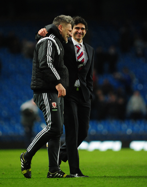 Middlesbrough's goalkeeper coach Leo Percovich, left, and Middlesbrough manager Aitor Karanka celebrate the win over Manchester City in the FA Cup<br /> <br /> Photographer Chris Vaughan/CameraSport<br /> <br /> Football - The FA Cup Fourth Round - Manchester City v Middlesbrough - Saturday 24th January 2015 - Etihad Stadium - Manchester<br /> <br /> © CameraSport - 43 Linden Ave. Countesthorpe. Leicester. England. LE8 5PG - Tel: +44 (0) 116 277 4147 - admin@camerasport.com - www.camerasport.com