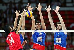 06.09.2014, Jahrhunderthalle, Breslau, POL, Venezuela vs Serbien, Gruppe A, im Bild ATAKUJE (L) MAXIMO MONTOYA MARTINE, (C) MARKO PODRASCANIN, (P) UROS KOVACEVIC // during the FIVB Volleyball Men's World Championships Pool A Match beween Uenezuela and Serbia at the Jahrhunderthalle in Breslau, Poland on 2014/09/06. EXPA Pictures © 2014<br /> <br /> ***NETHERLANDS ONLY***