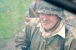 A Re-enactor portrayiing a German panzergrenadier during a battle battle re-enactment in on Pickering Showground<br /> <br /> 17/18 October 2015<br />  Image © Paul David Drabble <br />  www.pauldaviddrabble.co.uk