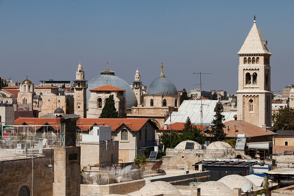 A general view of the rooftops of the Old City of Jerusalem, from the observation deck of the Hurva synagogue in the Jewish Quarter